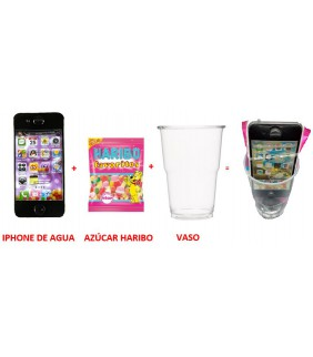 VASO CON IPHONE AGUA +...